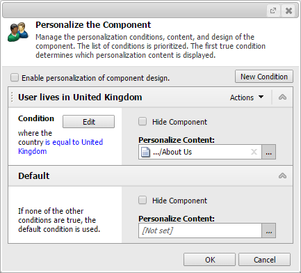 sitecore conditional renderings personalization preview